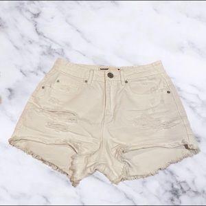Garage White Distressed Denim Shorts